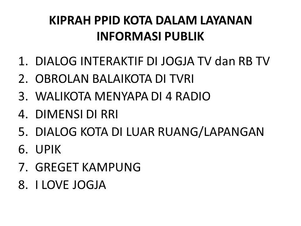KIPRAH PPID KOTA DALAM LAYANAN INFORMASI PUBLIK 1.DIALOG INTERAKTIF DI JOGJA TV dan RB TV 2.OBROLAN BALAIKOTA DI TVRI 3.WALIKOTA MENYAPA DI 4 RADIO 4.DIMENSI DI RRI 5.DIALOG KOTA DI LUAR RUANG/LAPANGAN 6.UPIK 7.GREGET KAMPUNG 8.I LOVE JOGJA