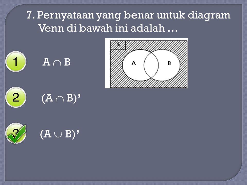 7. Pernyataan yang benar untuk diagram Venn di bawah ini adalah … A  B (A  B)' (A  B)'