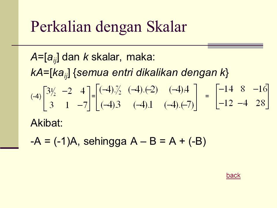 Perkalian dengan Skalar A=[a ij ] dan k skalar, maka: kA=[ka ij ] {semua entri dikalikan dengan k} (-4) = = Akibat: -A = (-1)A, sehingga A – B = A + (