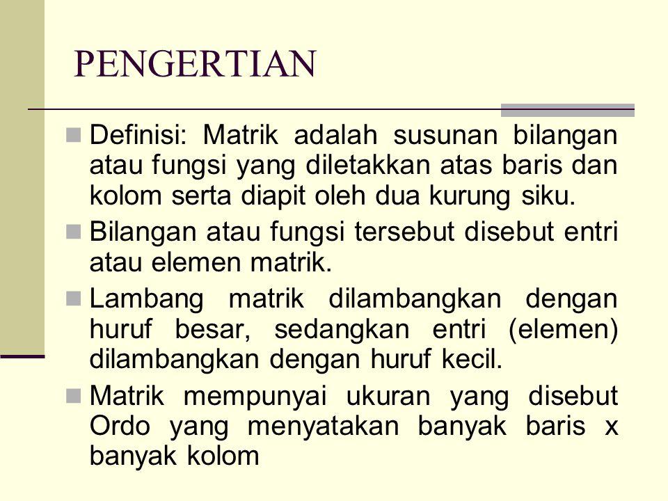 Determinan  Determinan Matriks Persegi Berordo 2 Matriks A = Determinan matriks A adalah hasil kali elemen-elemen diagonal utama dikurangi hasil kali elemen-elemen diagonal samping.