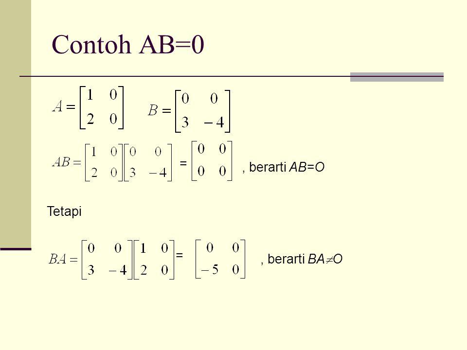 Contoh AB=0 =, berarti AB=O Tetapi =, berarti BA  O