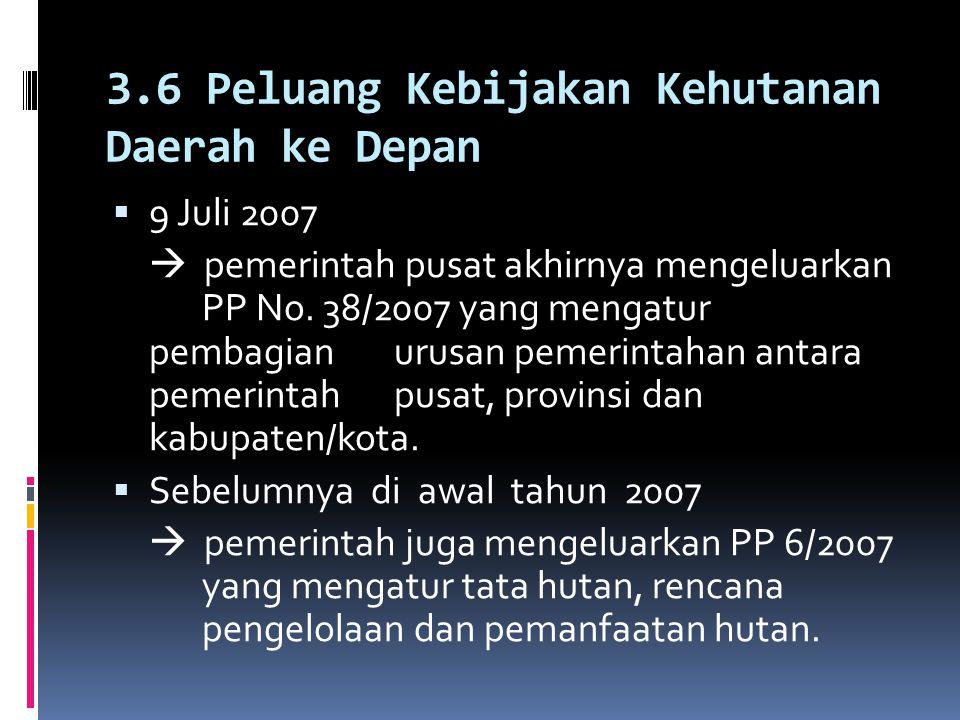 3.5 Kebijakan Kehutanan Kabupaten di bawah UU 32/2004  Justru terjadi tumpang tindih dengan kewenangan pusat. : - Ekstensifikasi tanaman kehutanan da