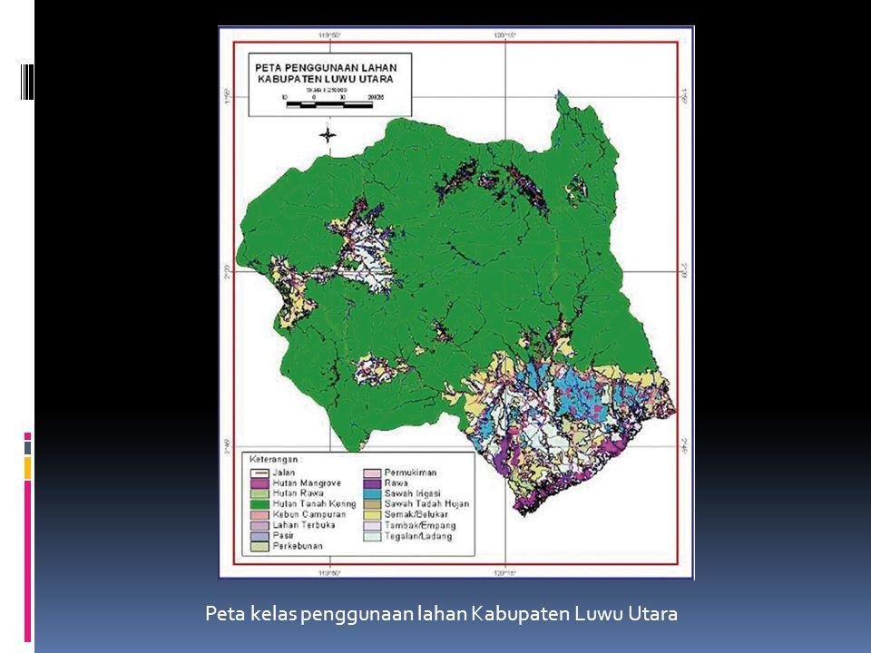 Klasifikasi penggunaan lahan hutan dan proses de facto yang ditemukan  Terdapat 14 kelas penggunaan lahan yang ditetapkan oleh Pemerintah Kabupaten L