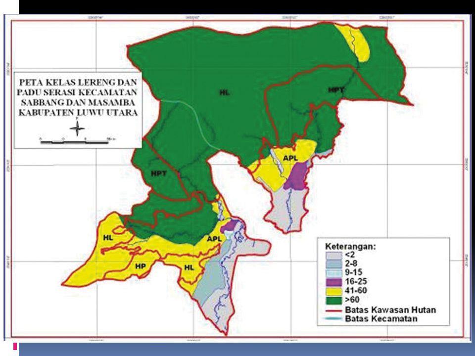  Untuk mengetahui lebih jauh kesesuaian pengaturan tata ruang wilayah untuk kegiatan kehutanan dan bukan kehutanan, peta padu serasi dengan peta kela