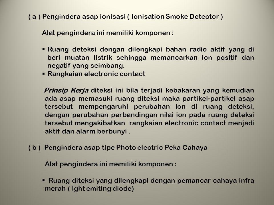 4. MACAM-MACAM DETECTOR DAN PEMASANGANNYA a.Macam- macam Detector Dilihat dari produk pembakaran maka detctor di bagi atas 3 Jenis yaitu : 1) Penginde