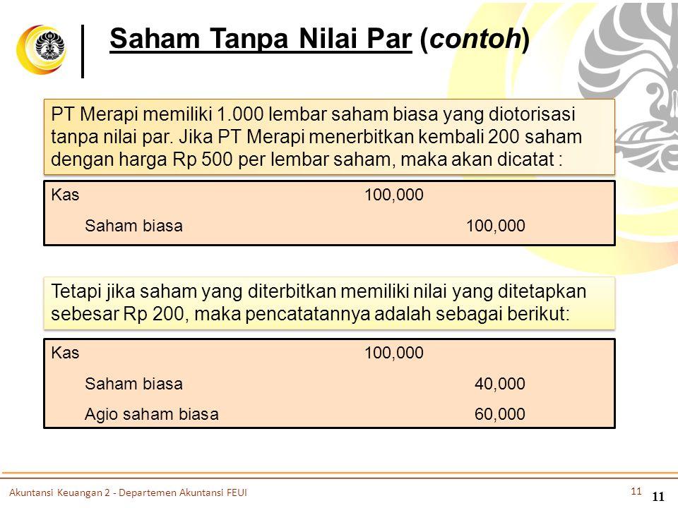 11 Saham Tanpa Nilai Par (contoh) PT Merapi memiliki 1.000 lembar saham biasa yang diotorisasi tanpa nilai par. Jika PT Merapi menerbitkan kembali 200
