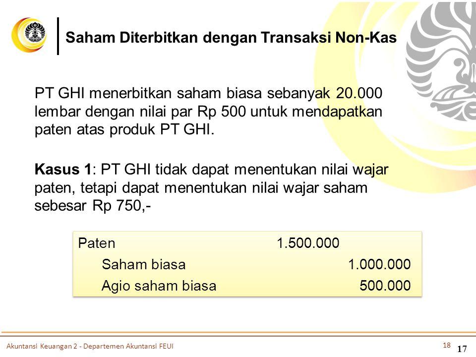 PT GHI menerbitkan saham biasa sebanyak 20.000 lembar dengan nilai par Rp 500 untuk mendapatkan paten atas produk PT GHI. Kasus 1: PT GHI tidak dapat