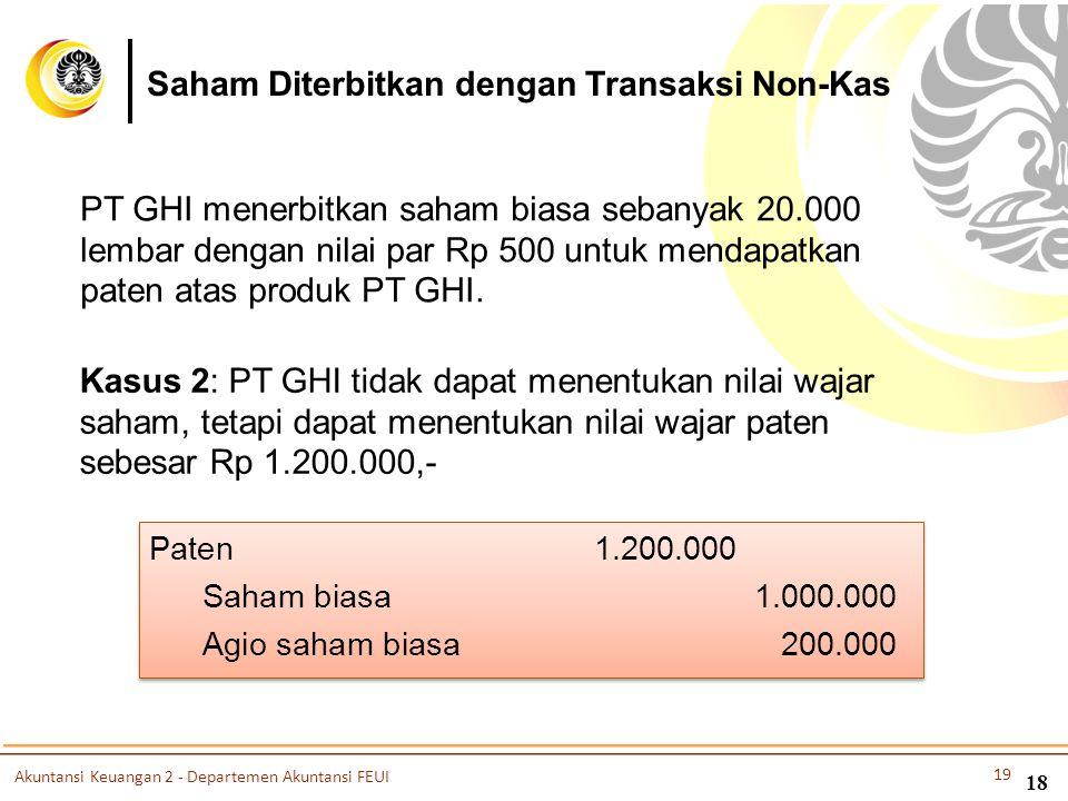 PT GHI menerbitkan saham biasa sebanyak 20.000 lembar dengan nilai par Rp 500 untuk mendapatkan paten atas produk PT GHI. Kasus 2: PT GHI tidak dapat
