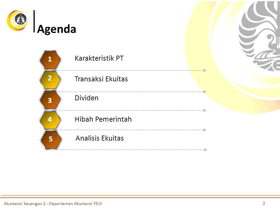 Agenda Karakteristik PT 1 Transaksi Ekuitas 2 Dividen 3 Hibah Pemerintah 4 Analisis Ekuitas 5 2 Akuntansi Keuangan 2 - Departemen Akuntansi FEUI