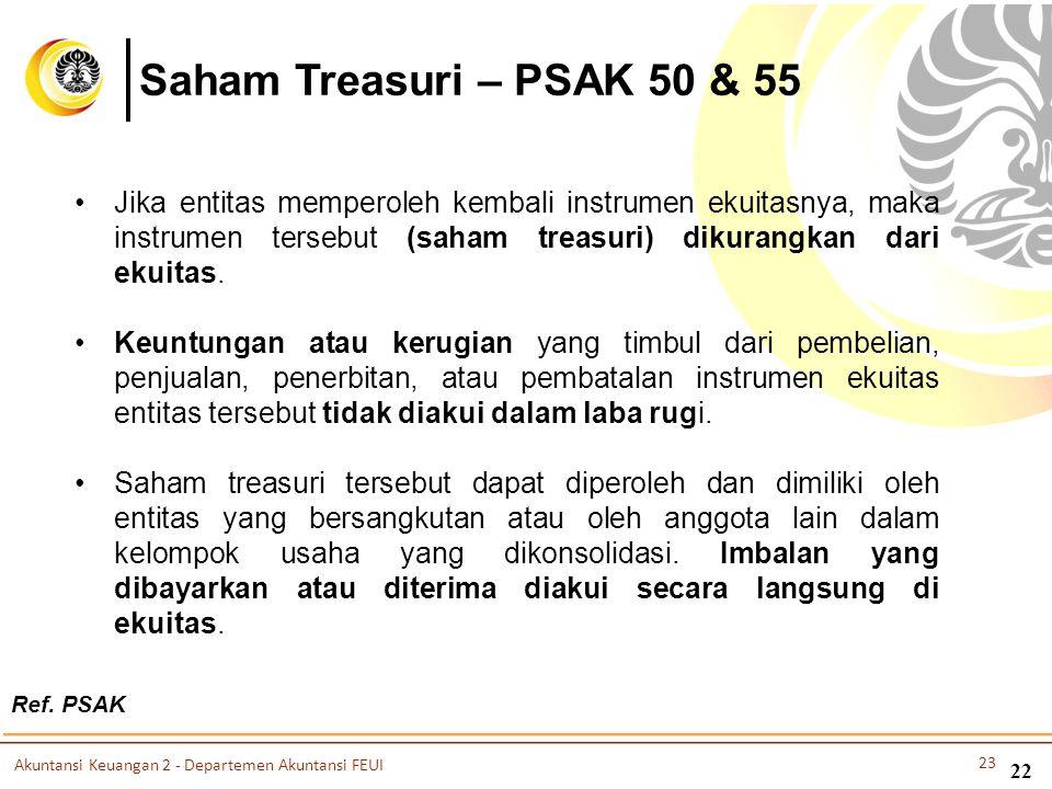 Ref. PSAK 22 Saham Treasuri – PSAK 50 & 55 •Jika entitas memperoleh kembali instrumen ekuitasnya, maka instrumen tersebut (saham treasuri) dikurangkan
