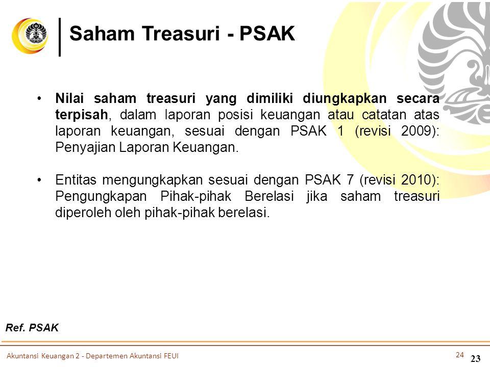 Saham Treasuri - PSAK •Nilai saham treasuri yang dimiliki diungkapkan secara terpisah, dalam Iaporan posisi keuangan atau catatan atas laporan keuanga