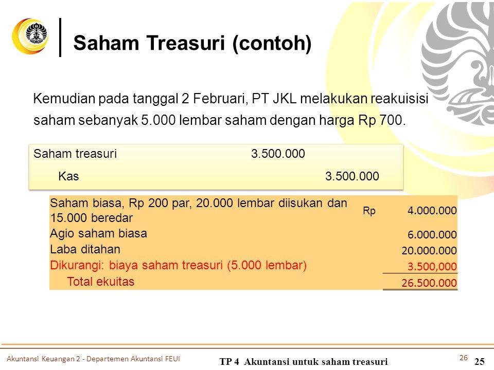 TP 4 Akuntansi untuk saham treasuri25 Saham Treasuri (contoh) Kemudian pada tanggal 2 Februari, PT JKL melakukan reakuisisi saham sebanyak 5.000 lemba