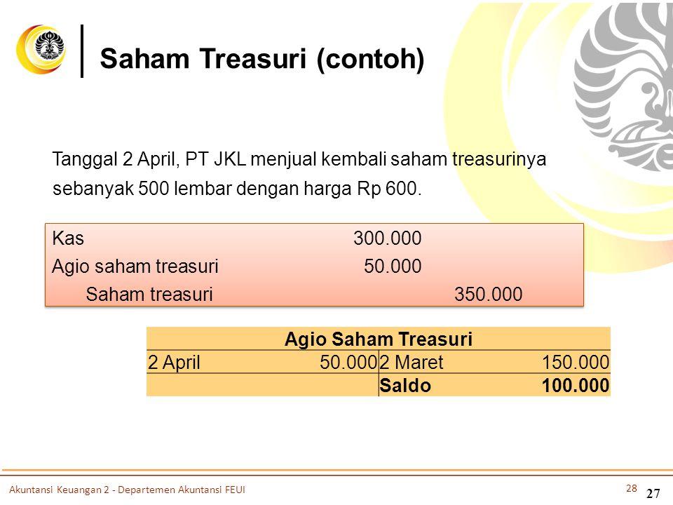 Tanggal 2 April, PT JKL menjual kembali saham treasurinya sebanyak 500 lembar dengan harga Rp 600. Kas 300.000 Agio saham treasuri50.000 Saham treasur