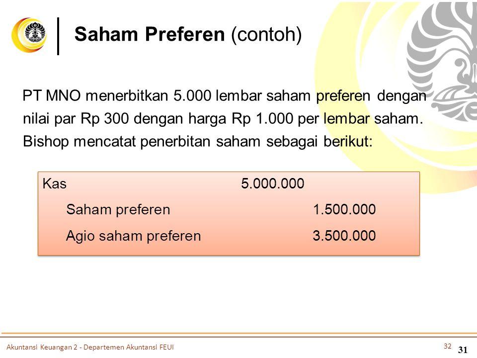 Saham Preferen (contoh) PT MNO menerbitkan 5.000 lembar saham preferen dengan nilai par Rp 300 dengan harga Rp 1.000 per lembar saham. Bishop mencatat