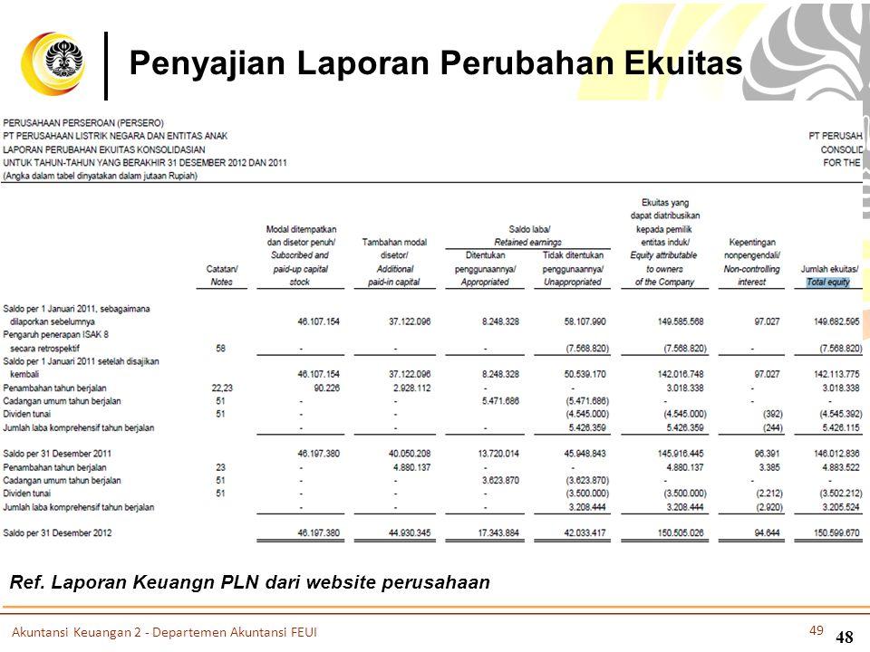 Penyajian Laporan Perubahan Ekuitas Ref. Laporan Keuangn PLN dari website perusahaan Akuntansi Keuangan 2 - Departemen Akuntansi FEUI 49