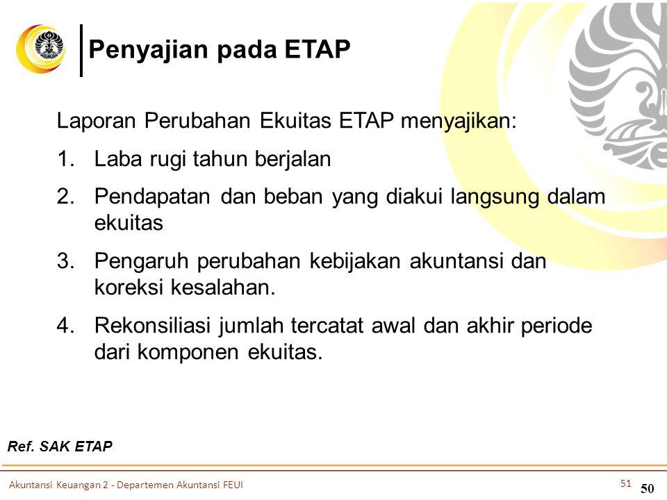 Penyajian pada ETAP Laporan Perubahan Ekuitas ETAP menyajikan: 1.Laba rugi tahun berjalan 2.Pendapatan dan beban yang diakui langsung dalam ekuitas 3.