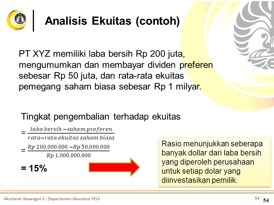 54 Analisis Ekuitas (contoh) PT XYZ memiliki laba bersih Rp 200 juta, mengumumkan dan membayar dividen preferen sebesar Rp 50 juta, dan rata-rata ekui