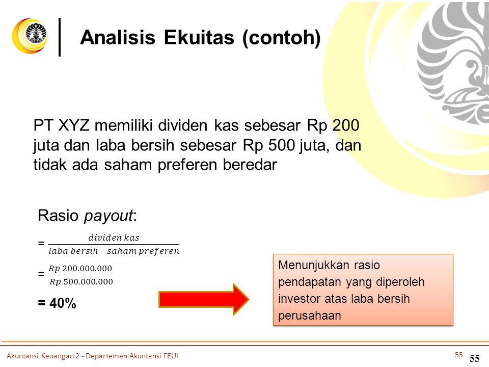 55 PT XYZ memiliki dividen kas sebesar Rp 200 juta dan laba bersih sebesar Rp 500 juta, dan tidak ada saham preferen beredar Menunjukkan rasio pendapa