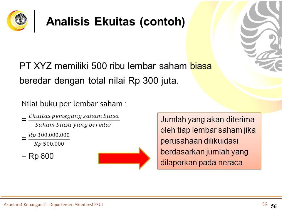 56 PT XYZ memiliki 500 ribu lembar saham biasa beredar dengan total nilai Rp 300 juta. Jumlah yang akan diterima oleh tiap lembar saham jika perusahaa
