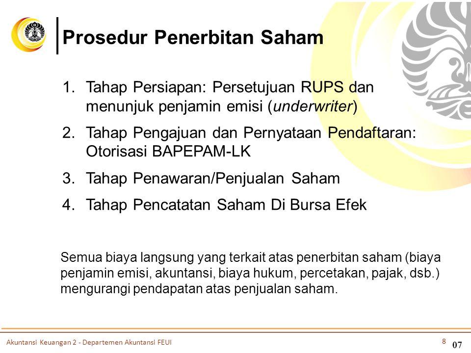 07 Prosedur Penerbitan Saham 1.Tahap Persiapan: Persetujuan RUPS dan menunjuk penjamin emisi (underwriter) 2.Tahap Pengajuan dan Pernyataan Pendaftara