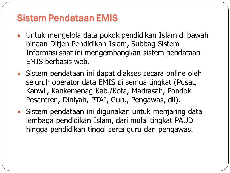 Sistem Pendataan EMIS  Untuk mengelola data pokok pendidikan Islam di bawah binaan Ditjen Pendidikan Islam, Subbag Sistem Informasi saat ini mengembangkan sistem pendataan EMIS berbasis web.
