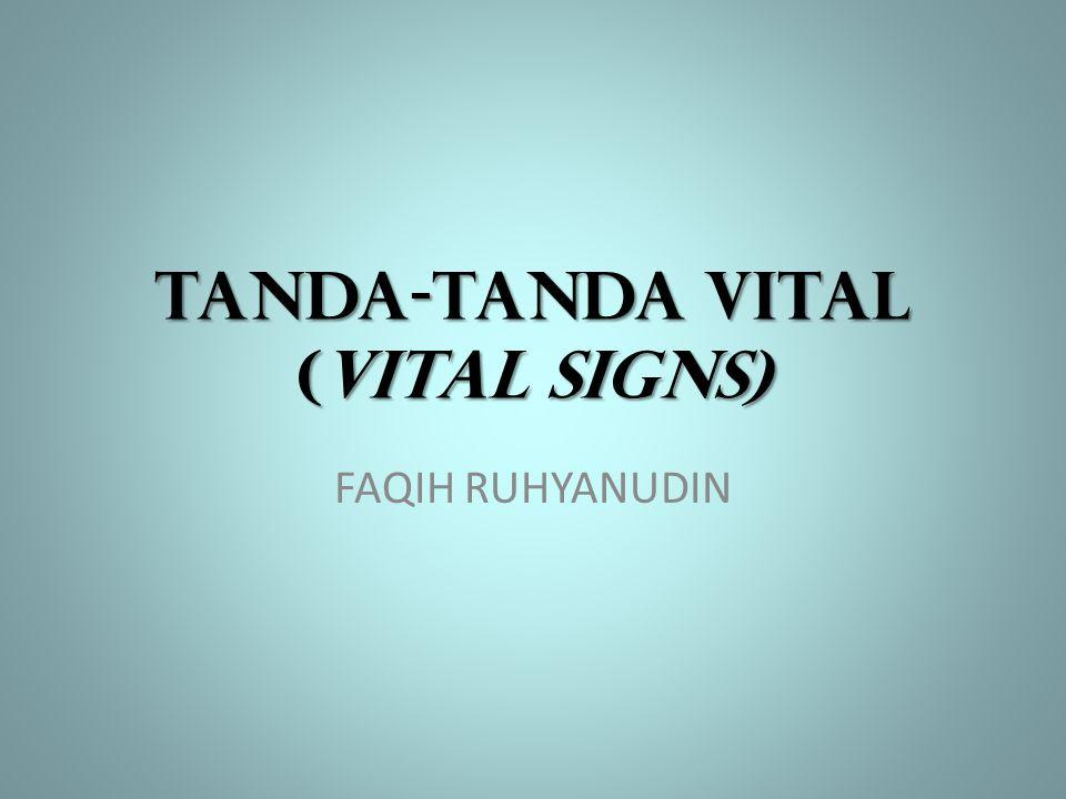 TERMASUK: 1.SUHU TUBUH 2.NADI 3.PERNAFASAN 4.TEKANAN DARAH 5.(NYERI : sering disebut tanda- tanda vital yang ke-5) Status fisiologis fungsi tubuh seseorang dapat direfleksikan oleh indikator TTV  perubahan TTV indikasikan perub.