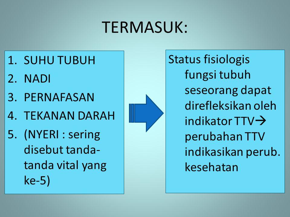 TERMASUK: 1.SUHU TUBUH 2.NADI 3.PERNAFASAN 4.TEKANAN DARAH 5.(NYERI : sering disebut tanda- tanda vital yang ke-5) Status fisiologis fungsi tubuh sese