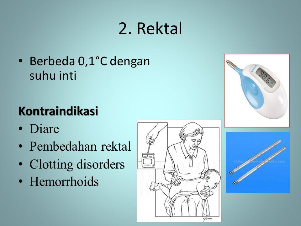 2. Rektal • Berbeda 0,1°C dengan suhu intiKontraindikasi • Diare • Pembedahan rektal • Clotting disorders • Hemorrhoids