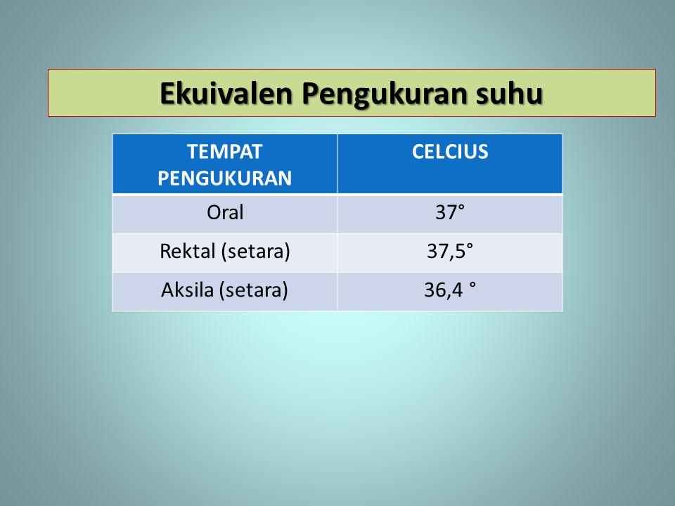 TEMPAT PENGUKURAN CELCIUS Oral37° Rektal (setara)37,5° Aksila (setara)36,4 ° Ekuivalen Pengukuran suhu