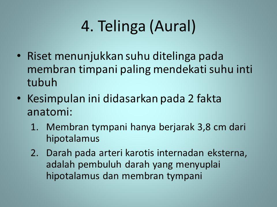 4. Telinga (Aural) • Riset menunjukkan suhu ditelinga pada membran timpani paling mendekati suhu inti tubuh • Kesimpulan ini didasarkan pada 2 fakta a