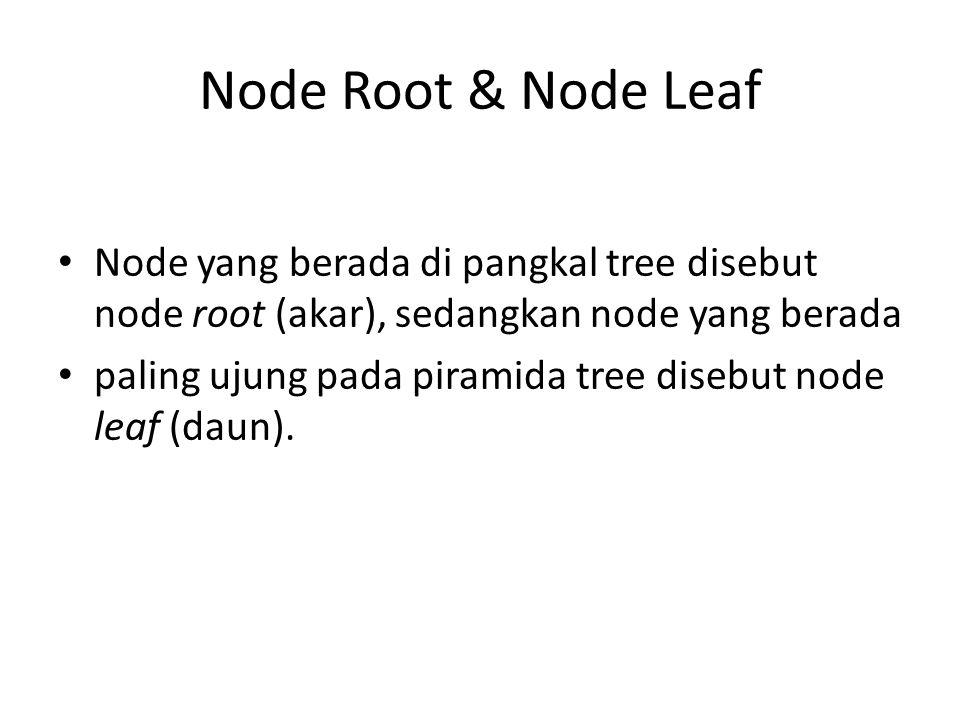 Node Root & Node Leaf • Node yang berada di pangkal tree disebut node root (akar), sedangkan node yang berada • paling ujung pada piramida tree disebut node leaf (daun).