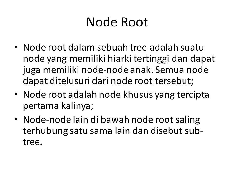 Node Root • Node root dalam sebuah tree adalah suatu node yang memiliki hiarki tertinggi dan dapat juga memiliki node-node anak.