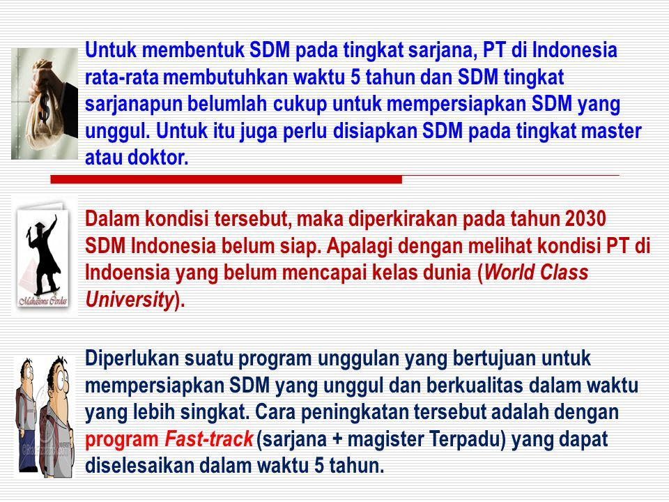 Untuk membentuk SDM pada tingkat sarjana, PT di Indonesia rata-rata membutuhkan waktu 5 tahun dan SDM tingkat sarjanapun belumlah cukup untuk mempersi