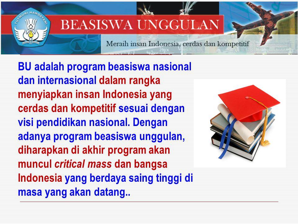 BU adalah program beasiswa nasional dan internasional dalam rangka menyiapkan insan Indonesia yang cerdas dan kompetitif sesuai dengan visi pendidikan
