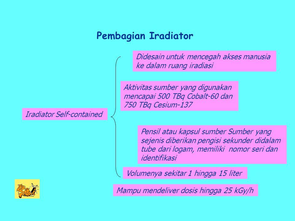 Pembagian Iradiator Iradiator Self-contained Aktivitas sumber yang digunakan mencapai 500 TBq Cobalt-60 dan 750 TBq Cesium-137 Pensil atau kapsul sumber Sumber yang sejenis diberikan pengisi sekunder didalam tube dari logam, memiliki nomor seri dan identifikasi Volumenya sekitar 1 hingga 15 liter Mampu mendeliver dosis hingga 25 kGy/h Didesain untuk mencegah akses manusia ke dalam ruang iradiasi