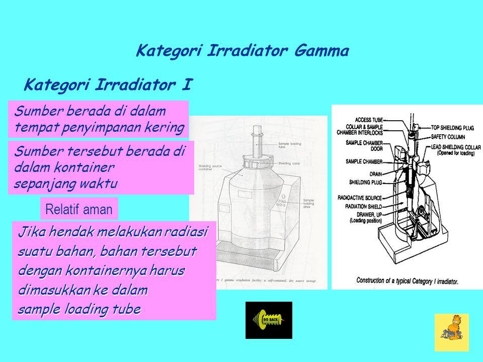 Kategori Irradiator Gamma Kategori Irradiator I Relatif aman Jika hendak melakukan radiasi suatu bahan, bahan tersebut dengan kontainernya harus dimasukkan ke dalam sample loading tube Sumber berada di dalam tempat penyimpanan kering Sumber tersebut berada di dalam kontainer sepanjang waktu
