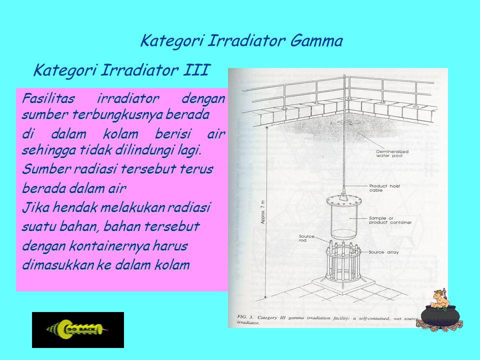 Kategori Irradiator Gamma Kategori Irradiator III Fasilitas irradiator dengan sumber terbungkusnya berada di dalam kolam berisi air sehingga tidak dilindungi lagi.