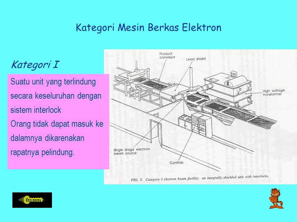 Kategori Mesin Berkas Elektron Kategori I Suatu unit yang terlindung secara keseluruhan dengan sistem interlock Orang tidak dapat masuk ke dalamnya dikarenakan rapatnya pelindung.