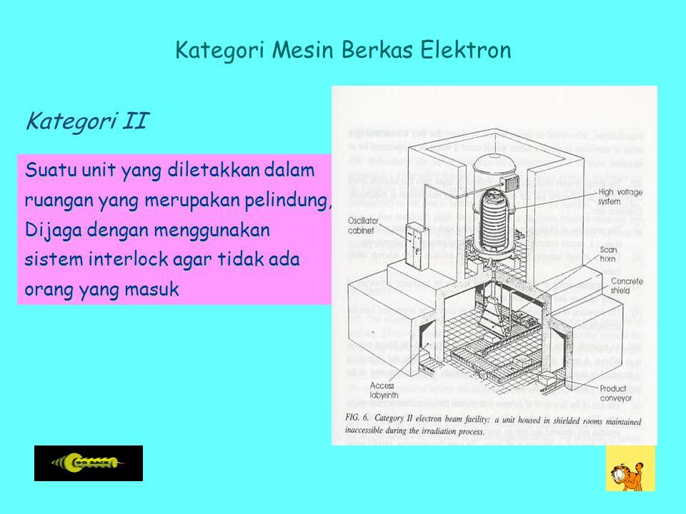 Kategori Mesin Berkas Elektron Suatu unit yang diletakkan dalam ruangan yang merupakan pelindung, Dijaga dengan menggunakan sistem interlock agar tidak ada orang yang masuk Kategori II