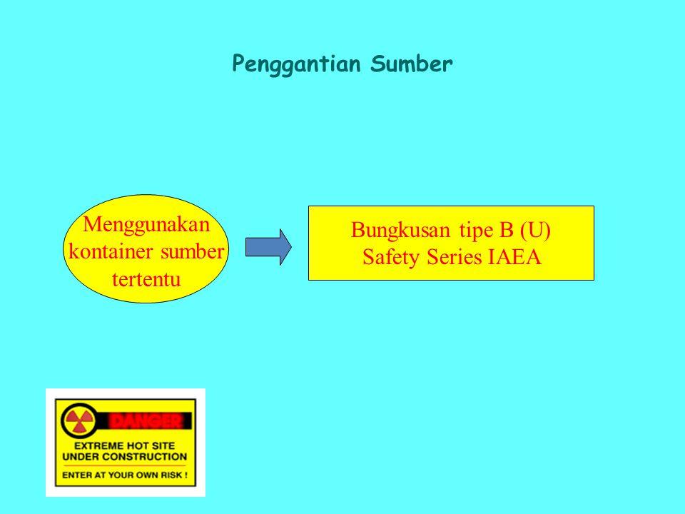 Penggantian Sumber Menggunakan kontainer sumber tertentu Bungkusan tipe B (U) Safety Series IAEA