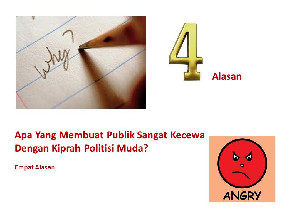 8 Alasan Apa Yang Membuat Publik Sangat Kecewa Dengan Kiprah Politisi Muda? Empat Alasan