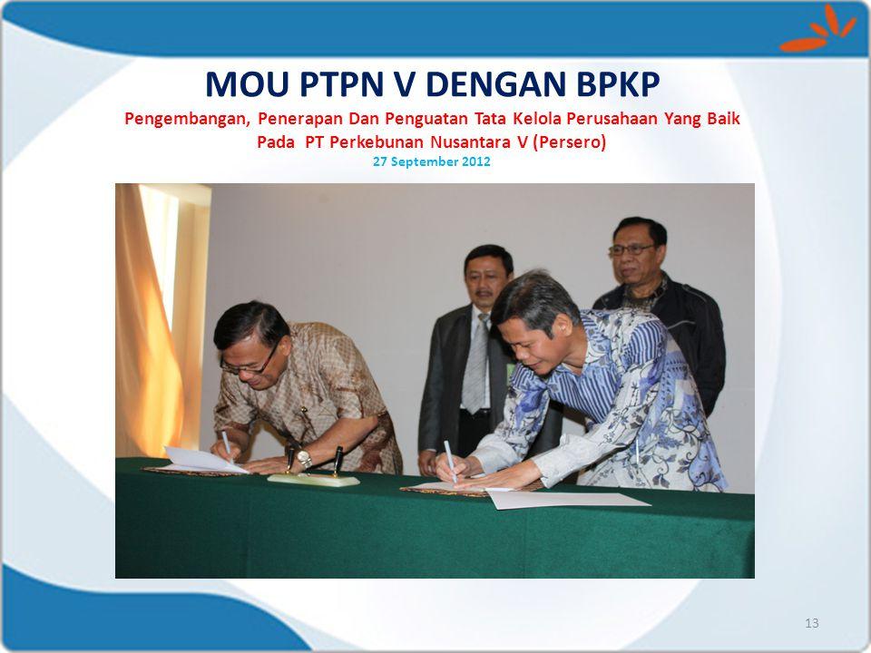 MOU PTPN V DENGAN BPKP Pengembangan, Penerapan Dan Penguatan Tata Kelola Perusahaan Yang Baik Pada PT Perkebunan Nusantara V (Persero) 27 September 20
