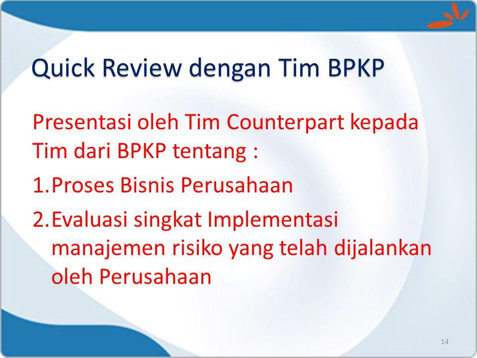 Presentasi oleh Tim Counterpart kepada Tim dari BPKP tentang : 1.Proses Bisnis Perusahaan 2.Evaluasi singkat Implementasi manajemen risiko yang telah