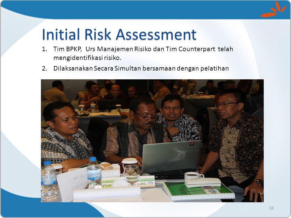 1.Tim BPKP, Urs Manajemen Risiko dan Tim Counterpart telah mengidentifikasi risiko. 2.Dilaksanakan Secara Simultan bersamaan dengan pelatihan 18 Initi