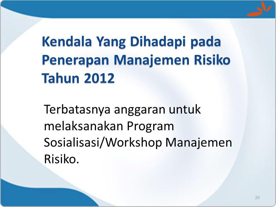 20 Terbatasnya anggaran untuk melaksanakan Program Sosialisasi/Workshop Manajemen Risiko. Kendala Yang Dihadapi pada Penerapan Manajemen Risiko Tahun
