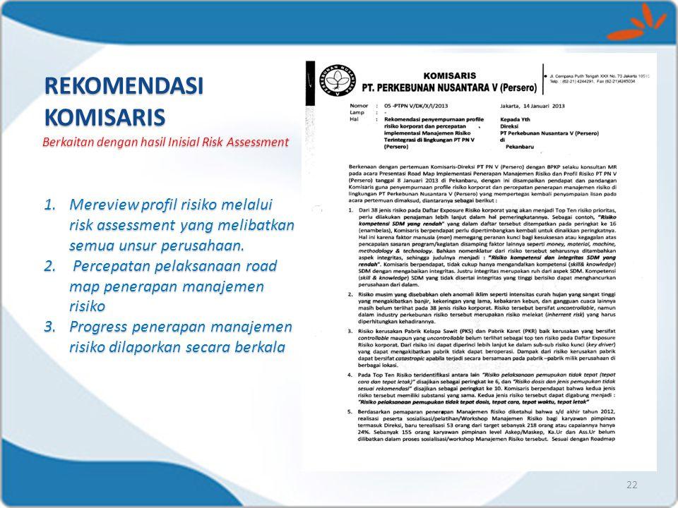 22 REKOMENDASI KOMISARIS Berkaitan dengan hasil Inisial Risk Assessment 1.Mereview profil risiko melalui risk assessment yang melibatkan semua unsur p