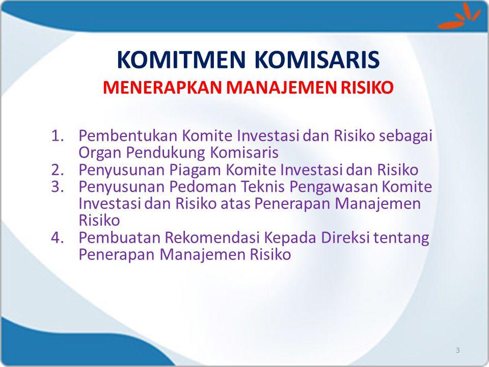 KOMITMEN KOMISARIS MENERAPKAN MANAJEMEN RISIKO 3 1.Pembentukan Komite Investasi dan Risiko sebagai Organ Pendukung Komisaris 2.Penyusunan Piagam Komit
