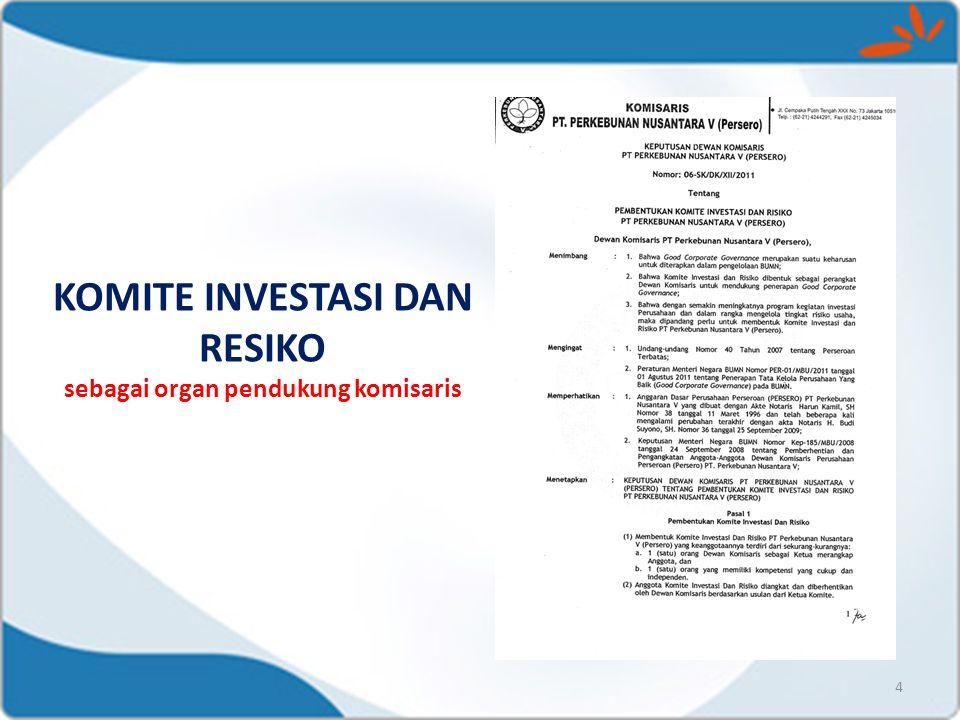KOMISARIS TELAH MENYUSUN 1.Piagam Komite Investasi dan Risiko 2.