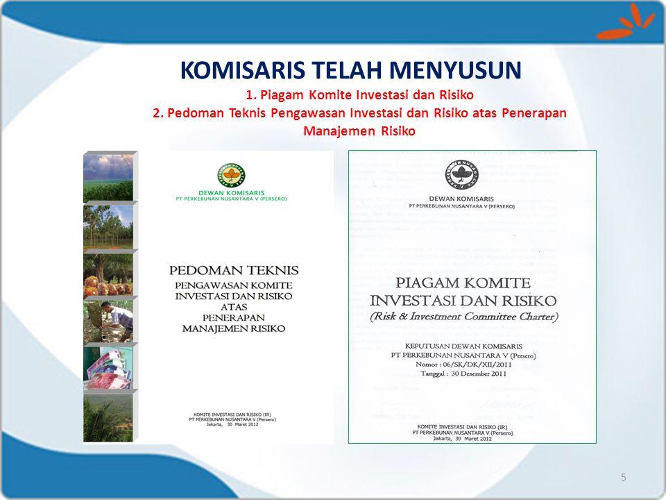 KOMISARIS TELAH MENYUSUN 1. Piagam Komite Investasi dan Risiko 2. Pedoman Teknis Pengawasan Investasi dan Risiko atas Penerapan Manajemen Risiko 5