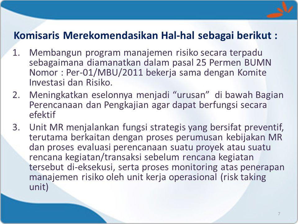 Komisaris Merekomendasikan Hal-hal sebagai berikut : 7 1.Membangun program manajemen risiko secara terpadu sebagaimana diamanatkan dalam pasal 25 Perm